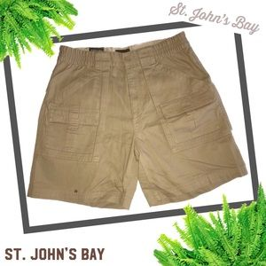 ST JOHNS BAY NWT Khaki Twill Hiking Shorts